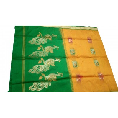 Kanchi Silk Mustard Silk Zari Worked Kanchipuram Handloom Saree