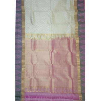 Kanchi Silk Cream and Purple Pure Silk Zari Worked Kanchipuram Handloom Saree