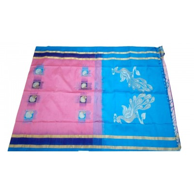 Kanchi Silk Pink Silk Zari Worked Kanchipuram Handloom Saree