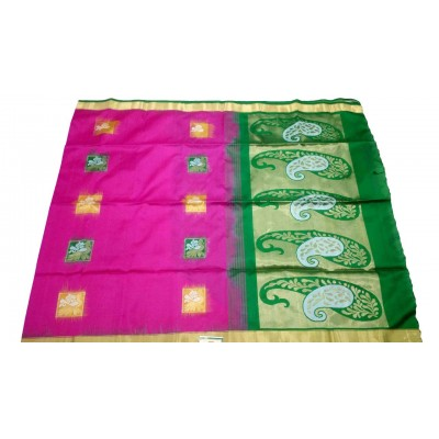 Kanchi Silk Magenta Silk Peacock Designed Kanchipuram Handloom Saree