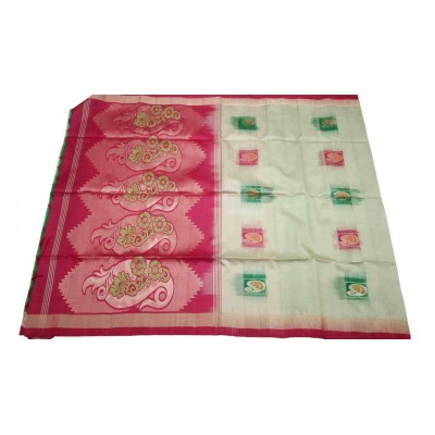 Kanchi Silk Cream and Red Pure Silk Zari Worked Kanchipuram Handloom Saree