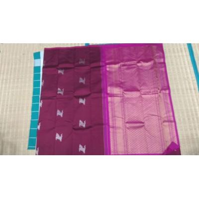Kanchi Silk Brown Pure Silk Zari Worked Kanchipuram Handloom Saree