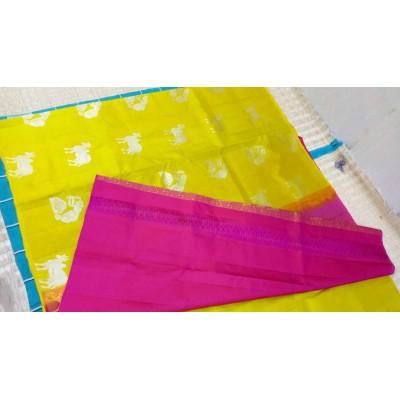 Kanchi Silk Yellow Soft Silk Printed Kanchipuram Handloom Saree