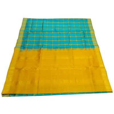 Kanchi Silk Blue Soft Silk Check bordered Kanchipuram Handloom Saree