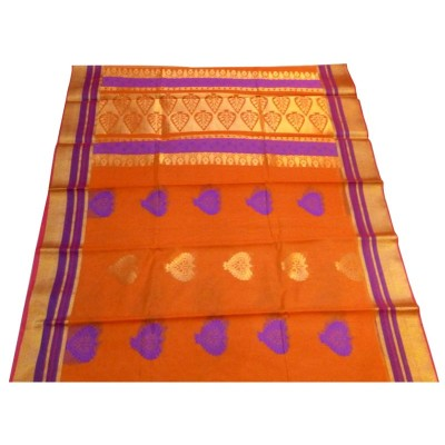 Kanchi Silk Orange Cotton Silk Zari Worked Kanchipuram Handloom Saree