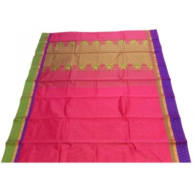 Kanchi Silk Pink Cotton Silk Ganga-Jamuna bordered Kanchipuram Handloom Saree
