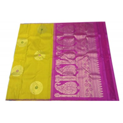Kanchi Silk Mustard Pure Silk Zari Worked Kanchipuram Handloom Saree