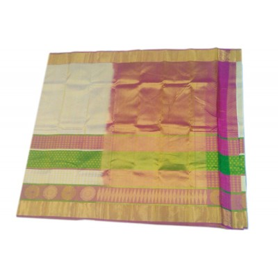 Kanchi Silk Off White Pure Silk Kanchipuram Handloom Saree