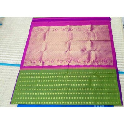Kanchi Silk Green Pure Silk Zari Worked Kanchipuram Handloom Saree