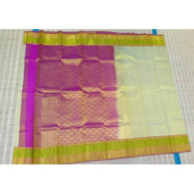 Kanchi Silk Cream Pure Silk Zari Worked Kanchipuram Handloom Saree