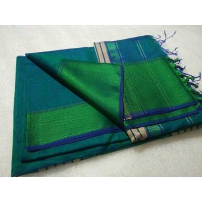 Sameer Handloom Blue Cotton Silk Solid Maheshwari Handloom Saree