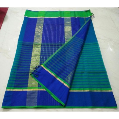 Sameer Handloom Dark Blue Cotton Silk Ganga-Jamuna bordered Maheshwari Handloom Saree