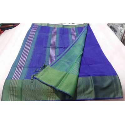 Sameer Handloom Dark Blue Cotton Silk Solid Maheshwari Handloom Saree