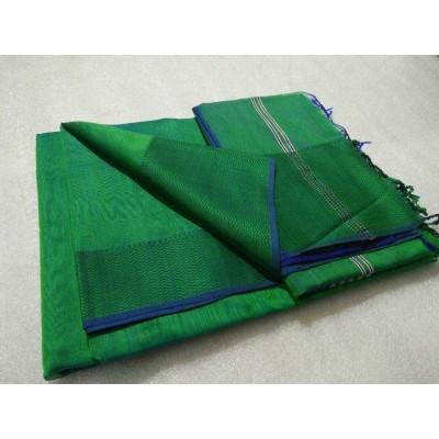 Sameer Handloom Green Cotton Silk Solid Maheshwari Handloom Saree
