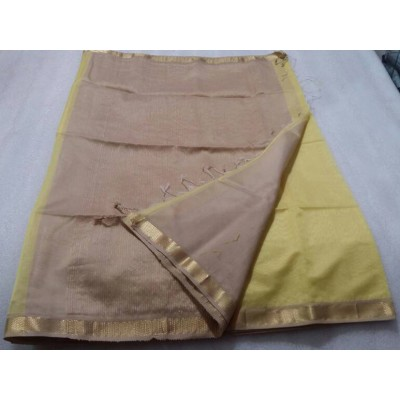 Sameer Handloom Light Yellow Cotton Silk Solid Maheshwari Handloom Saree