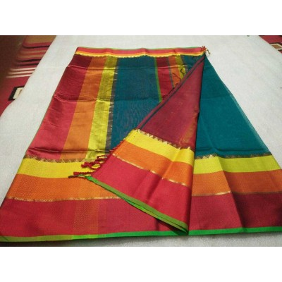Sameer Handloom Multi Colour Cotton Silk Solid Maheshwari Handloom Saree