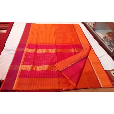 Sameer Handloom Orange Cotton Silk Ganga-Jamuna bordered Maheshwari Handloom Saree