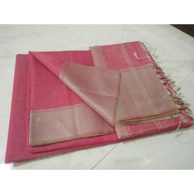Sameer Handloom Rose Cotton Silk Solid Maheshwari Handloom Saree