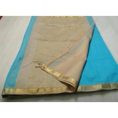 Sameer Handloom Sky Blue Cotton Silk Solid Maheshwari Handloom Saree