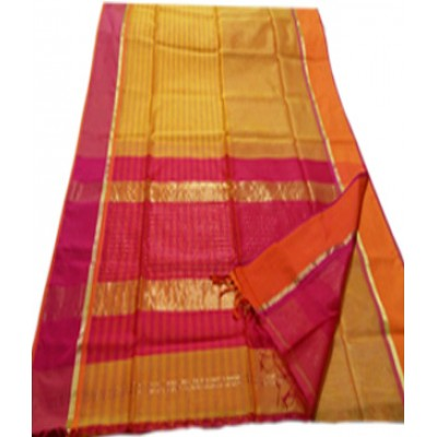 Sameer Handloom Yellow Cotton Silk Ganga-Jamuna bordered Maheshwari Handloom Saree