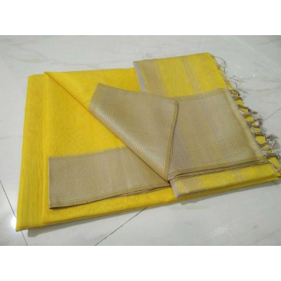 Sameer Handloom Yellow Cotton Silk Solid Maheshwari Handloom Saree