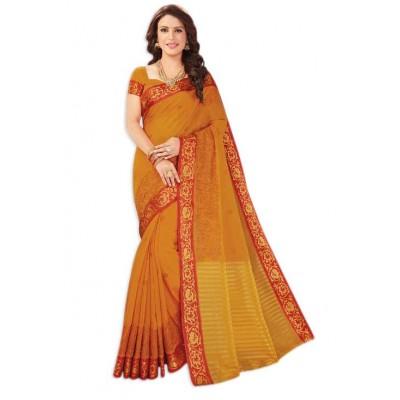 Damodar silks Orange & Gold Cotton Printed Saree