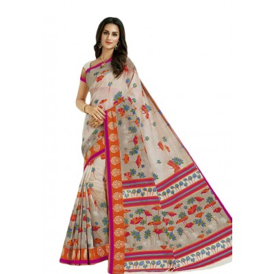 Damodar silks Off White Cotton Printed Saree