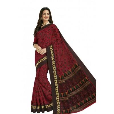 Damodar silks Maroon Cotton Printed Saree