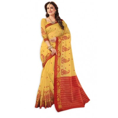 Damodar silks Yellow & Red Fancy Cotton Embroidered Saree