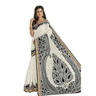Damodar silks Off White Cotton Printed Saree
