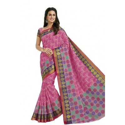 Damodar silks Pink Cotton Printed Saree