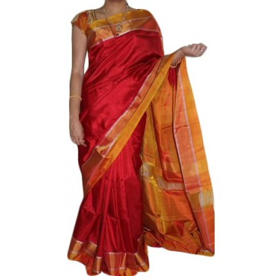 Veerfashions Red Pure Silk Uppada Handloom Saree