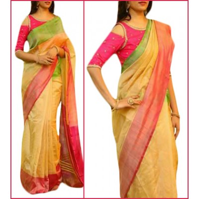 Veerfashions Cream Tissue Silk Uppada Handloom Saree