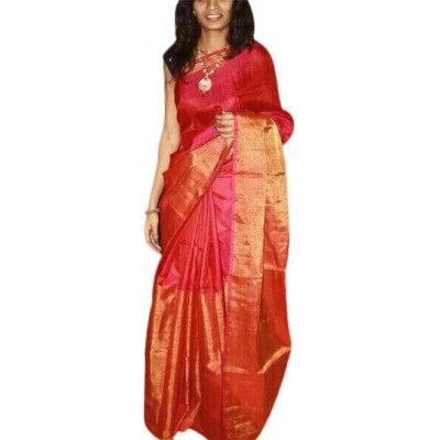 Veerfashions Red Tissue Silk Uppada Handloom Saree