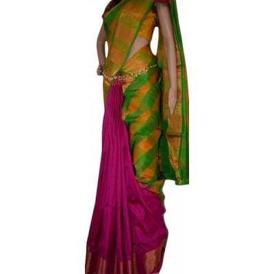 Veerfashions Pink Silk Uppada Handloom Saree