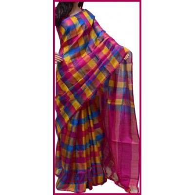 Veerfashions Multi Colour Pure Silk Uppada Handloom Saree