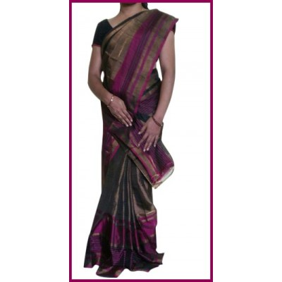 Veerfashions Multi Colour Tissue Silk Uppada Handloom Saree