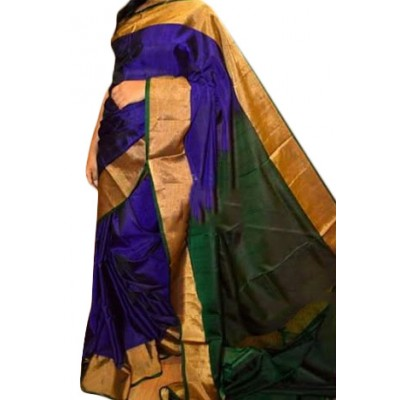 Veerfashions Blue Silk Uppada Handloom Saree