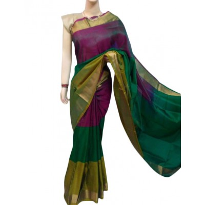 Veerfashions Green Pure Silk Uppada Handloom Saree