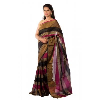 Veerfashions Black Tissue Silk Uppada Handloom Saree