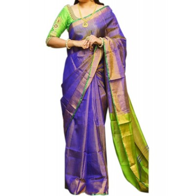 Veerfashions Blue and Green Tissue Silk Uppada Handloom Saree