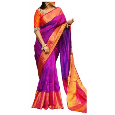 Veerfashions Purple Silk Uppada Handloom Saree