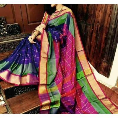 Veerfashions Blue and Green Pure Silk Uppada Handloom Saree