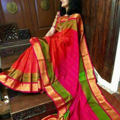 Veerfashions Red Pure Silk Uppada Handloom Saree