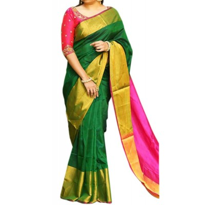 Veerfashions Dark Green Silk Uppada Handloom Saree
