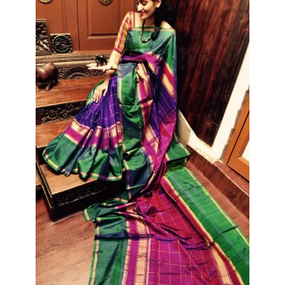 Veerfashions Blue and Green Pure Silk Uppada Handloom Saree