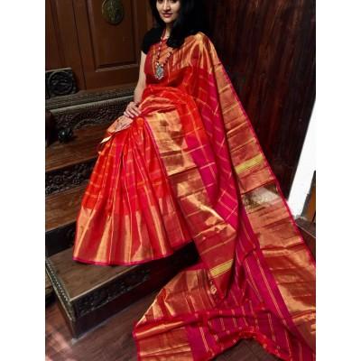 Veerfashions Orange Pure Silk Uppada Handloom Saree