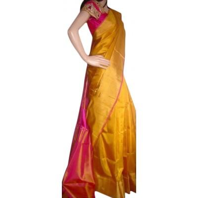Veerfashions Yellow Pure Silk Uppada Handloom Saree