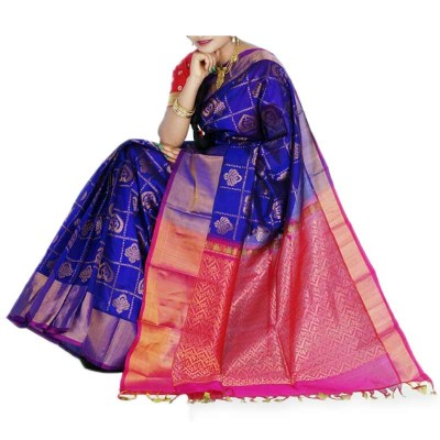 Veerfashions Blue Cotton Silk Kuppadam Handloom Saree