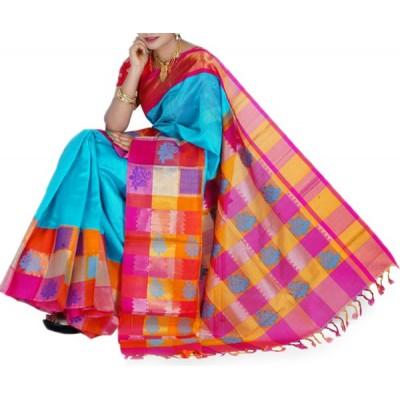 Veerfashions Sky Blue Pure Cotton Silk Kuppadam Handloom Saree
